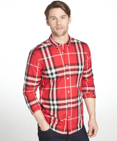 Burberry brit military red plaid cotton niall button down for Burberry brit green plaid shirt