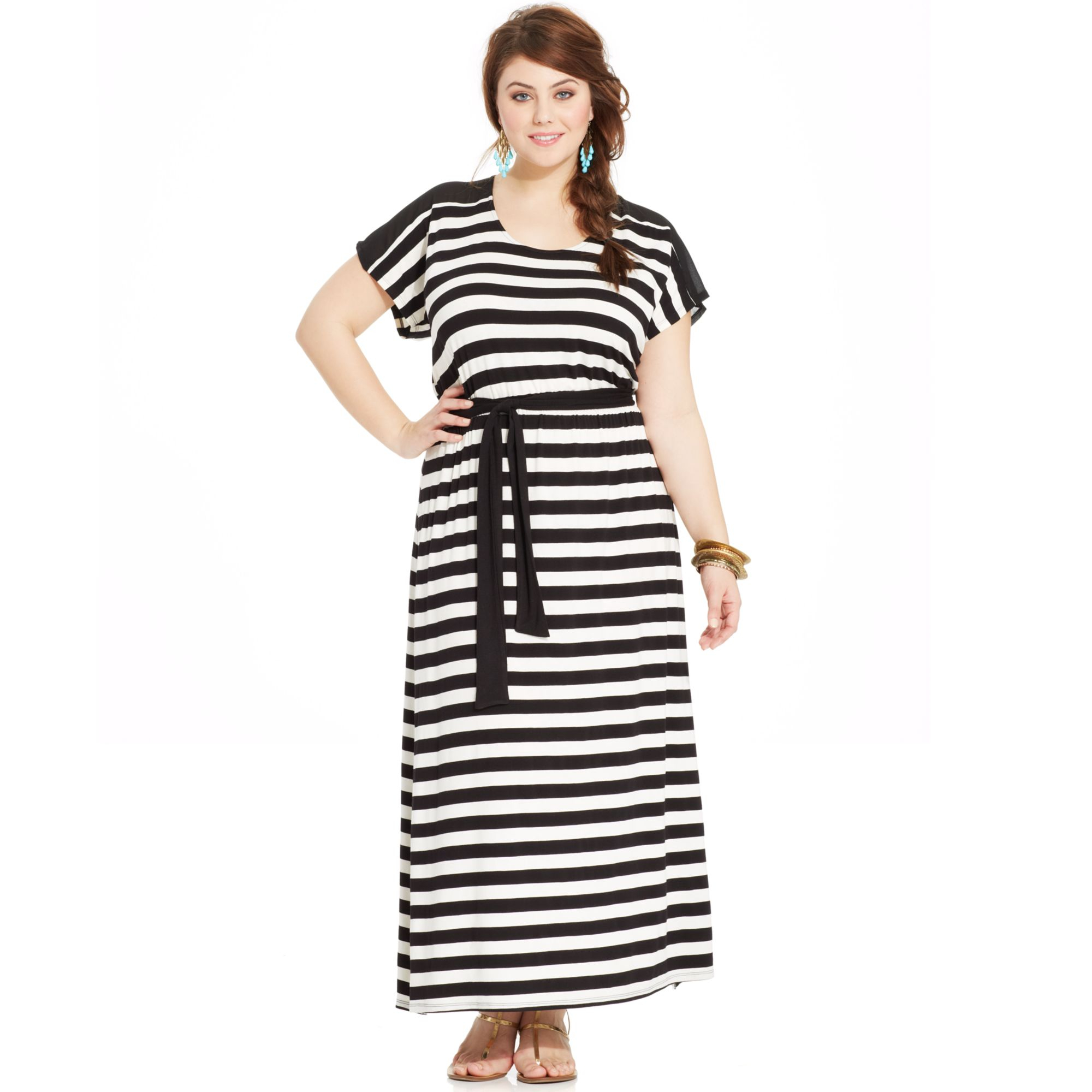 American Rag Plus Size Striped Cutoutback Maxi Dress in ...