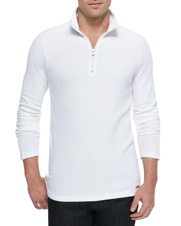 Michael kors Waffle-knit Half-zip Sweater in White for Men | Lyst