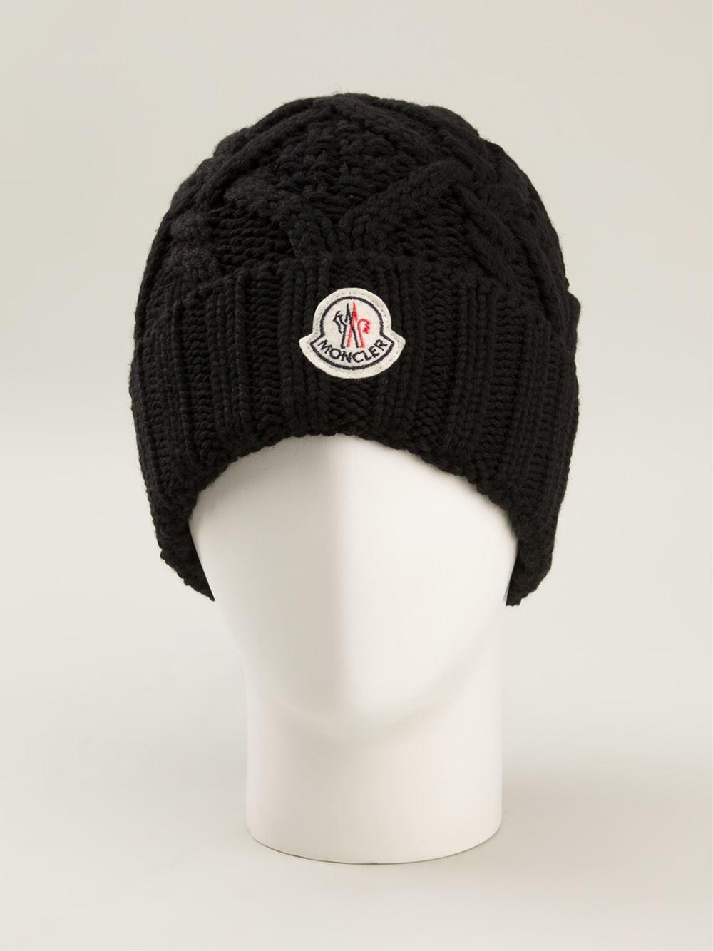 moncler cable knit beanie black