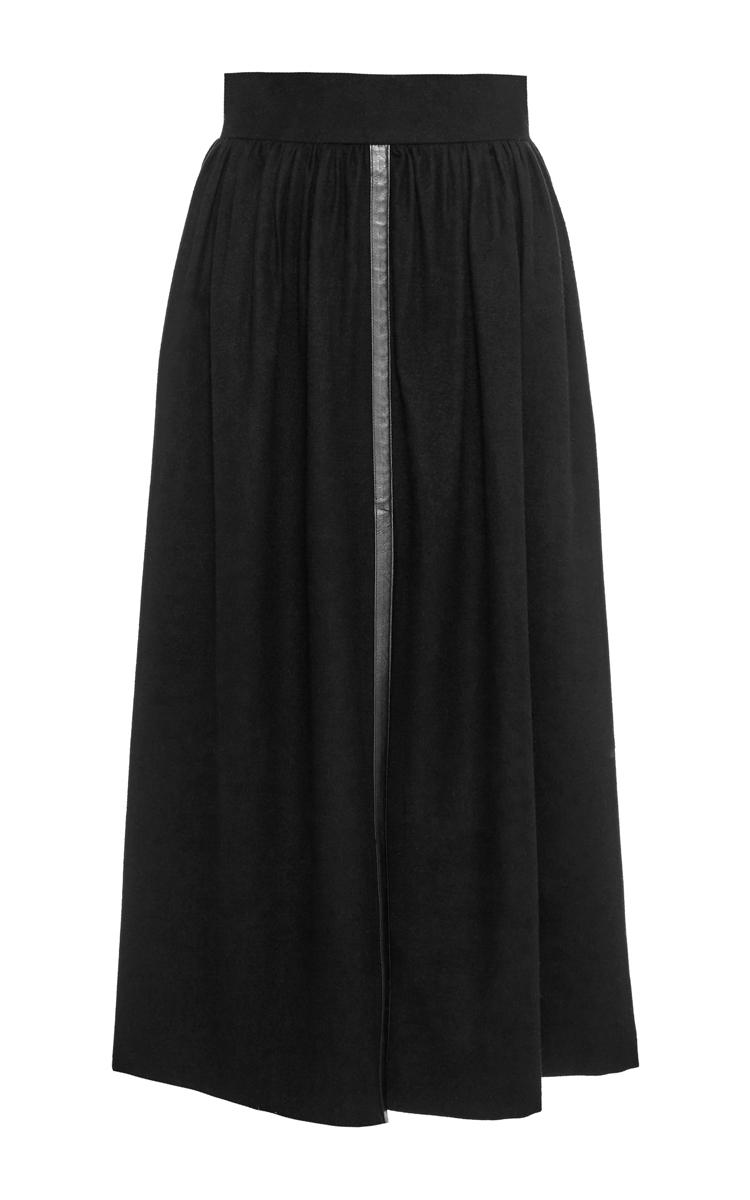 vilshenko black wool skirt with leather trim in