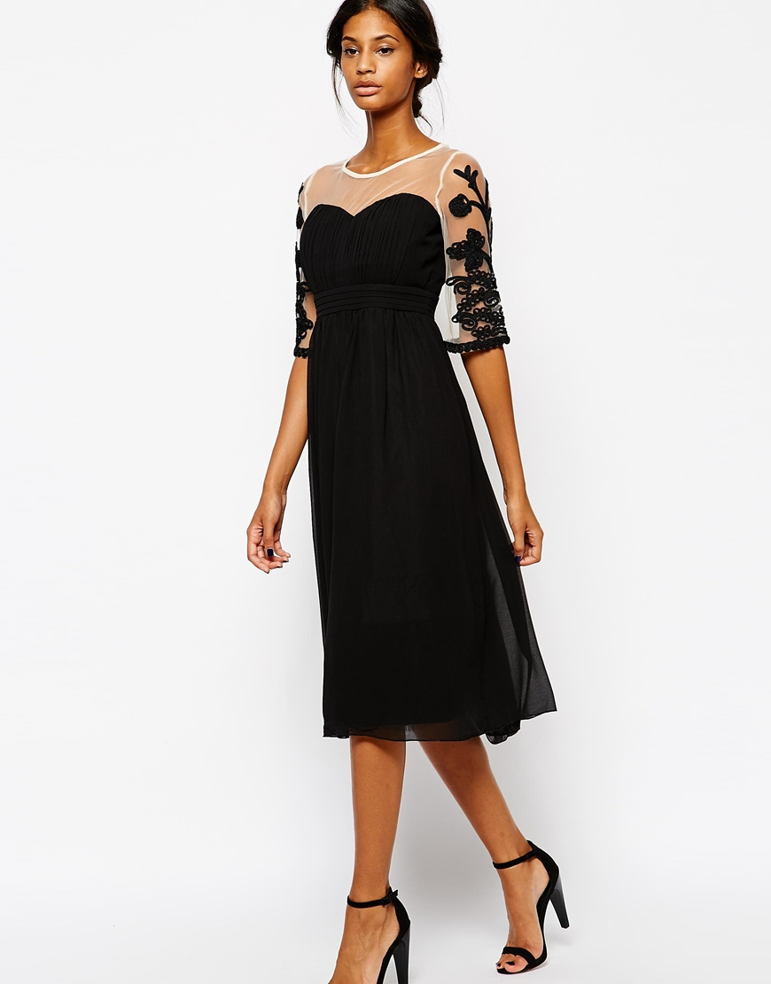 Lyst Little Mistress Midi Prom Dress With Embroidered