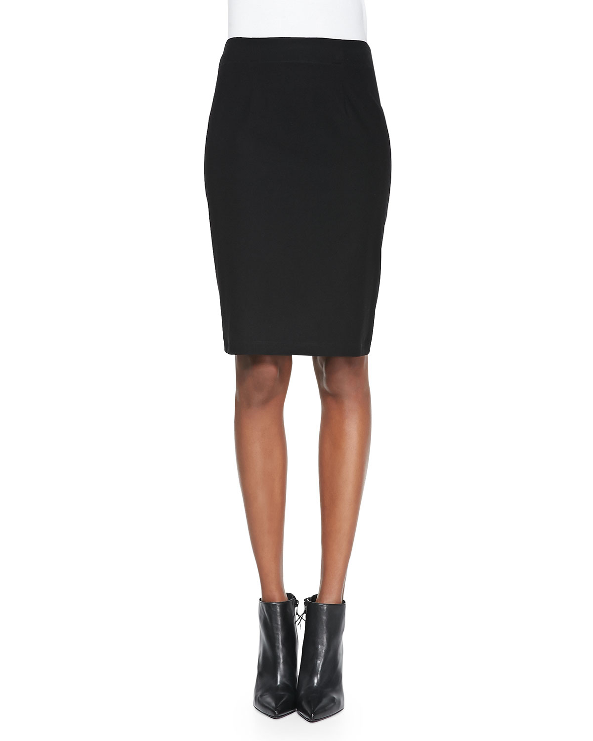 f0b51fe1997 Eileen Fisher Washable Stretch Crepe Pencil Skirt in Black - Lyst