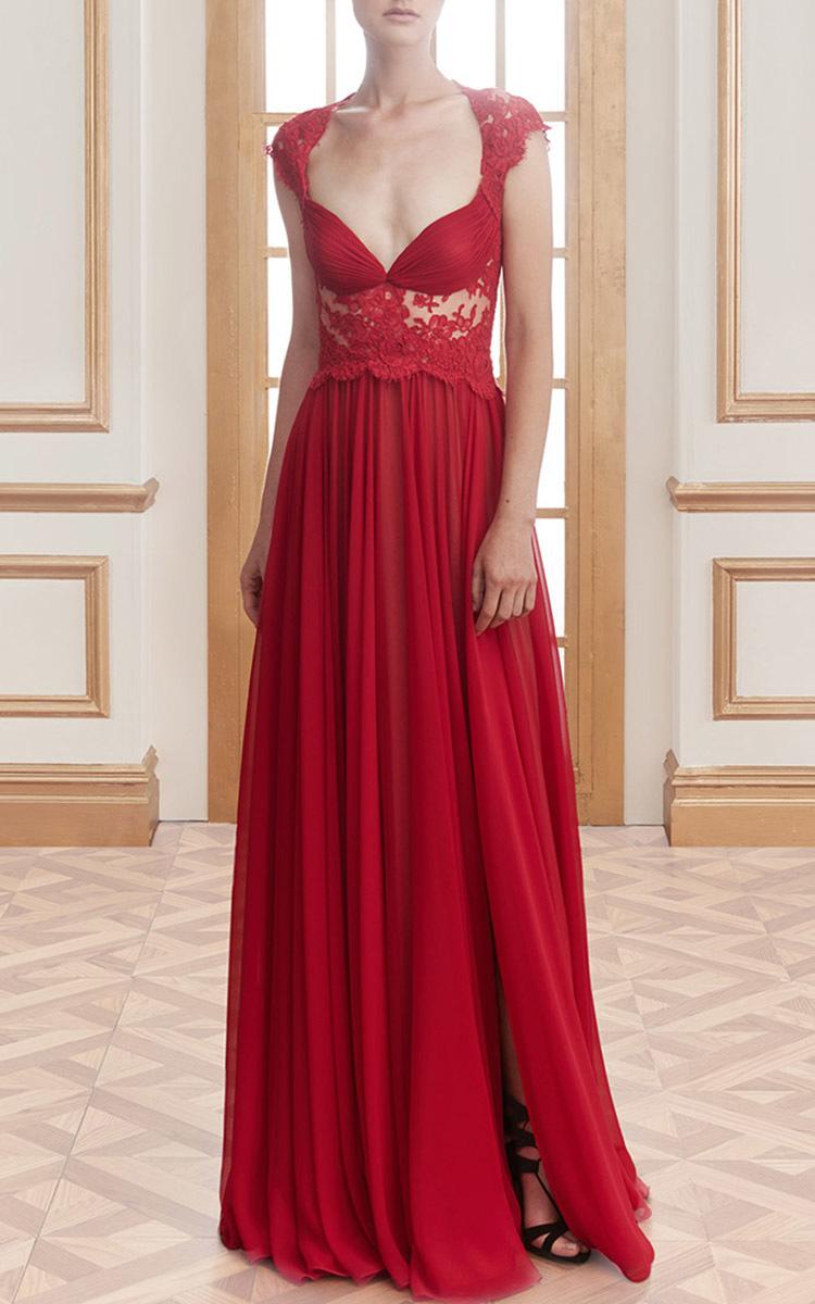 Lyst - Reem Acra Silk Chiffon Cap Sleeve Gown in Red