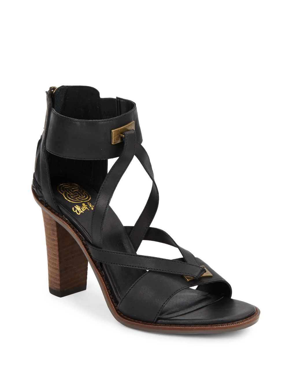 elliott lucca leather ankle cuff sandals in black lyst