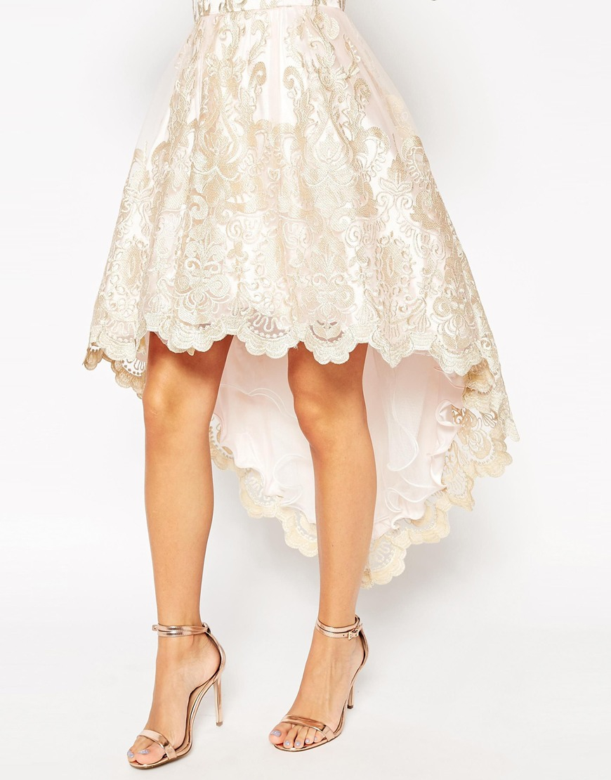 1aa10c0e3861 Chi Chi London Premium Metallic Lace Bandeau High Low Mini Prom ...