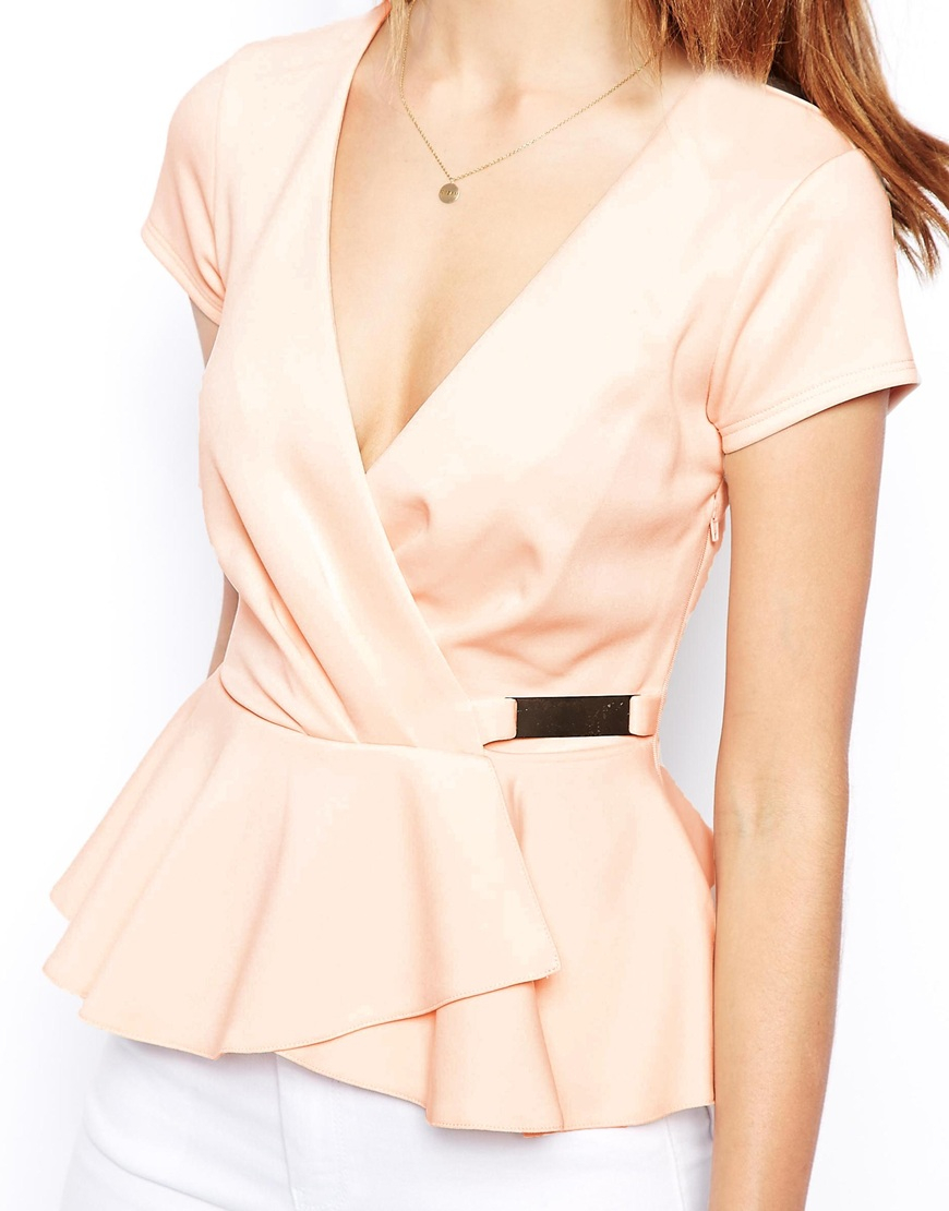 435efc914fd714 ASOS Wrap Front Peplum Top With Gold Bar in Pink - Lyst