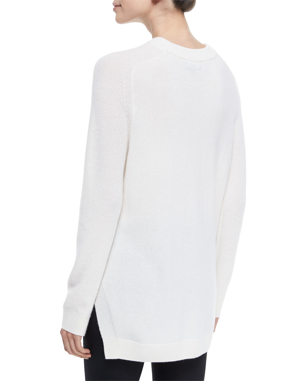 Rag & bone Valentina Cashmere Tunic Sweater in White | Lyst