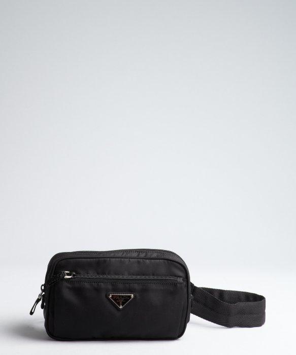 7a9496e6e824 clearance lyst prada black tessuto waist bag in black for men 21cd7 e87c6