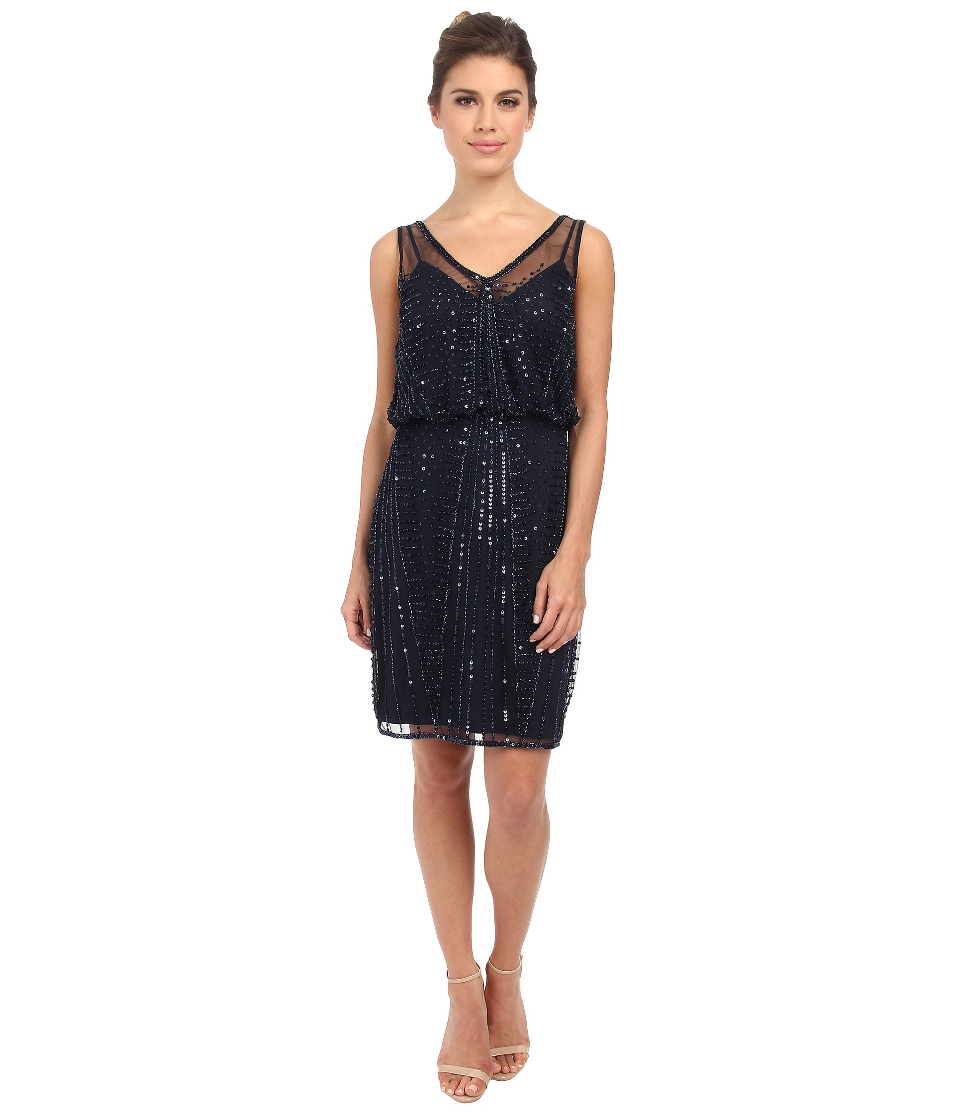 Adrianna papell Short Beaded Cocktail Dress in Blue - Lyst
