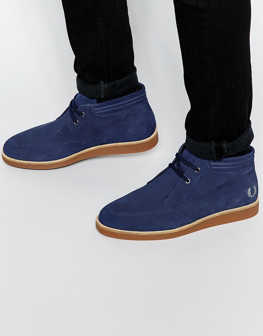 Lyst - Fred Perry Southall Suede Boots in Blue for Men