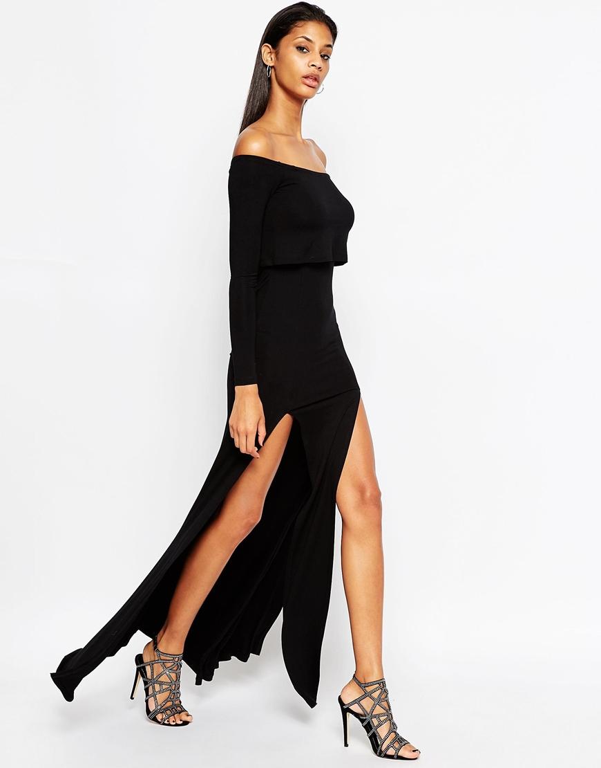 Asos Long Sleeve Crop Top Bardot Maxi Dress With Double