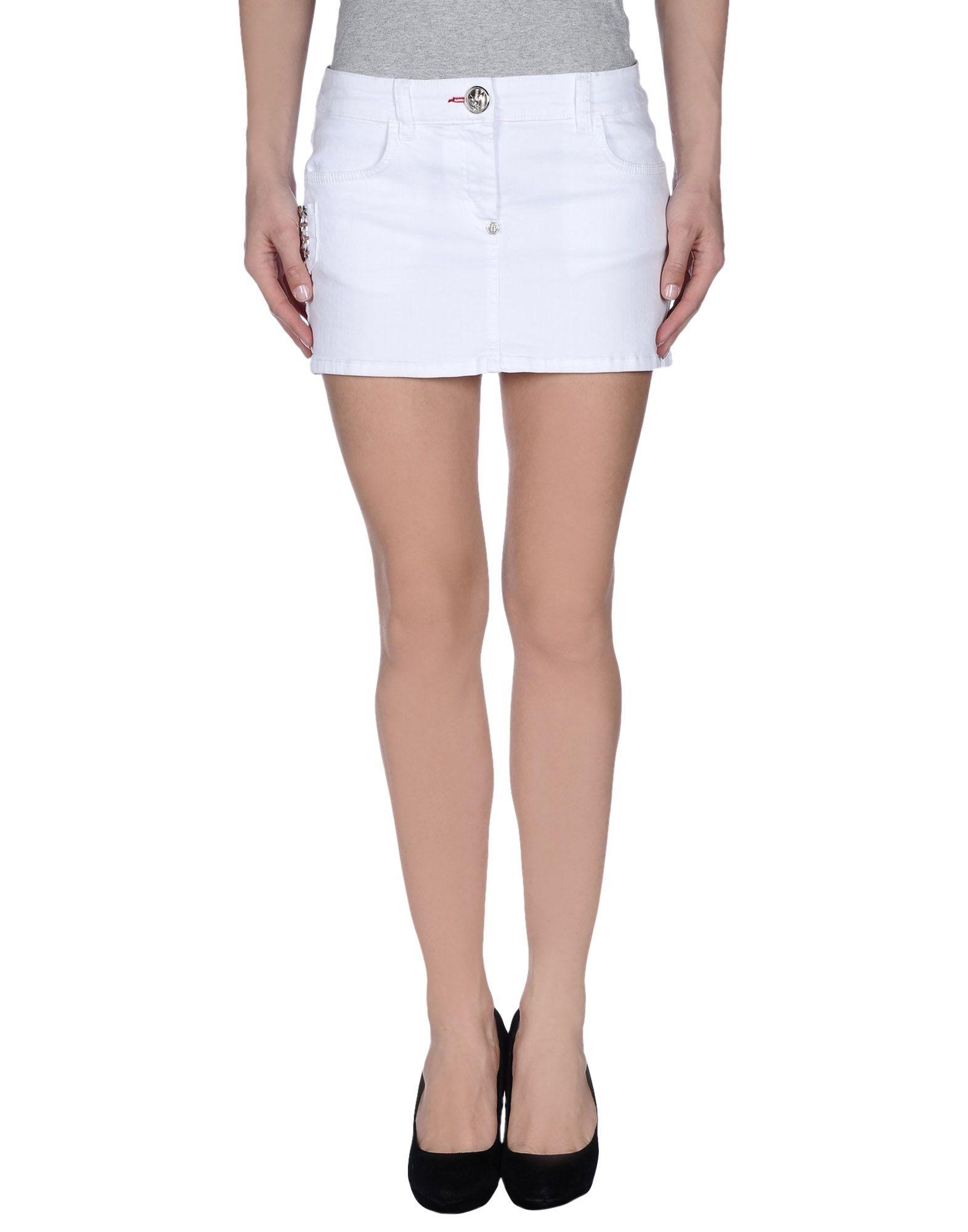 philipp plein white denim skirt lyst