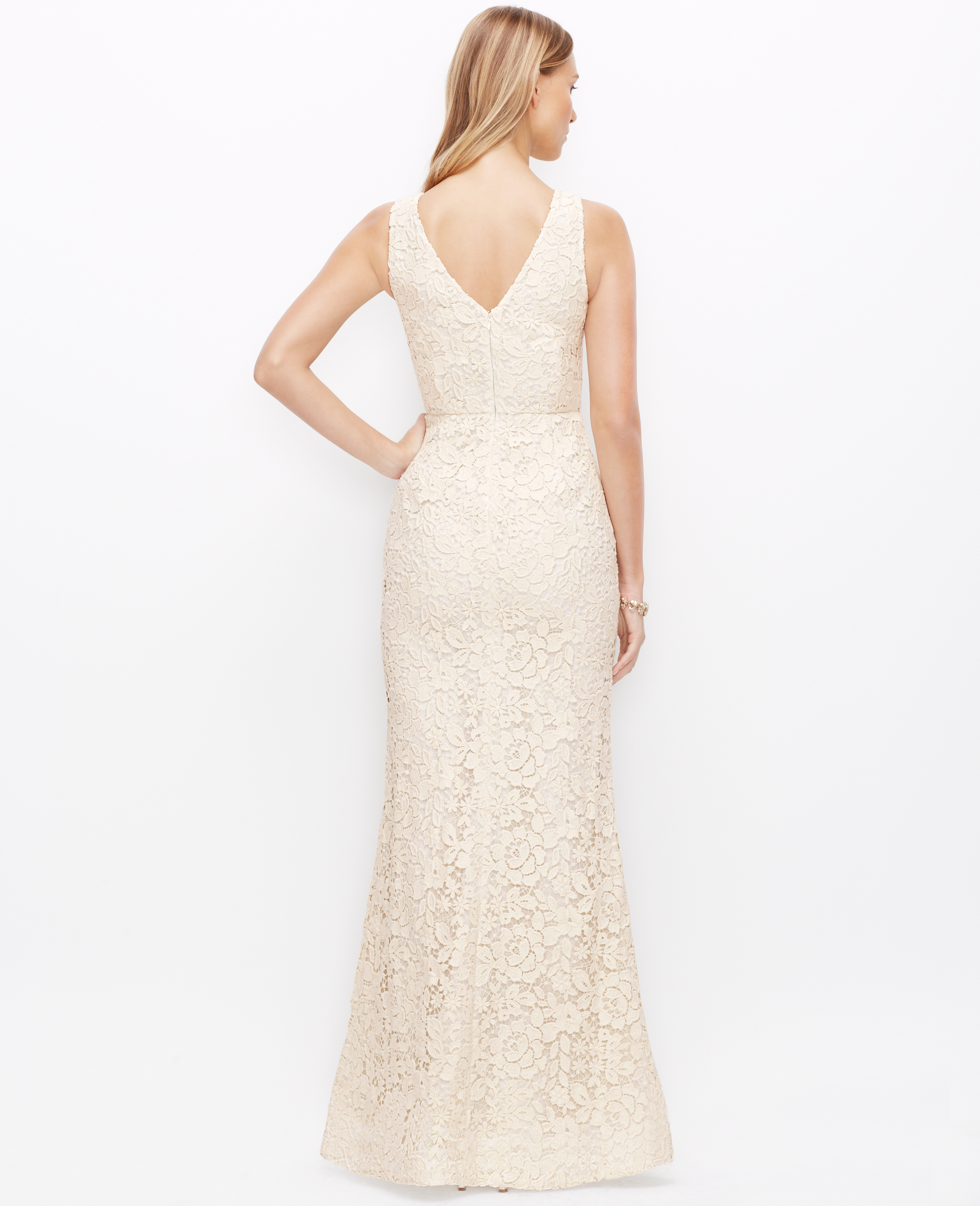 Lyst ann taylor lace v neck wedding dress in white gallery junglespirit Image collections