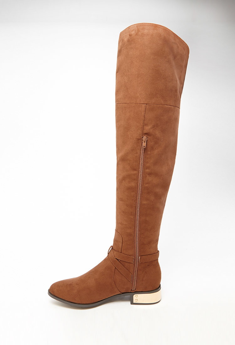 467bcc08e70 Lyst - Forever 21 Faux Suede Over-the-knee Boots in Brown