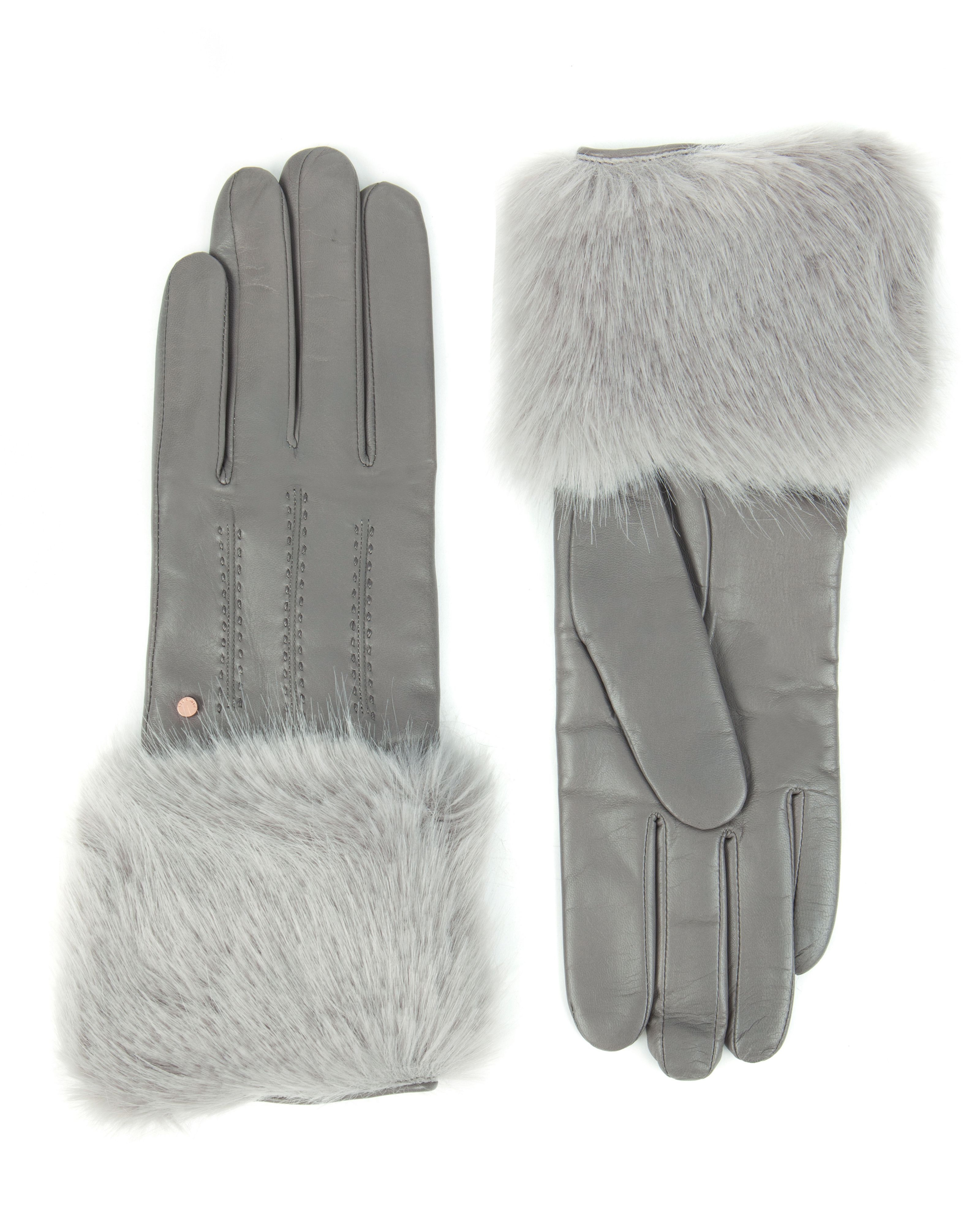 Mens leather gloves grey -  Ted Baker Jania Fur Lined Leather Glove In Gray Lyst