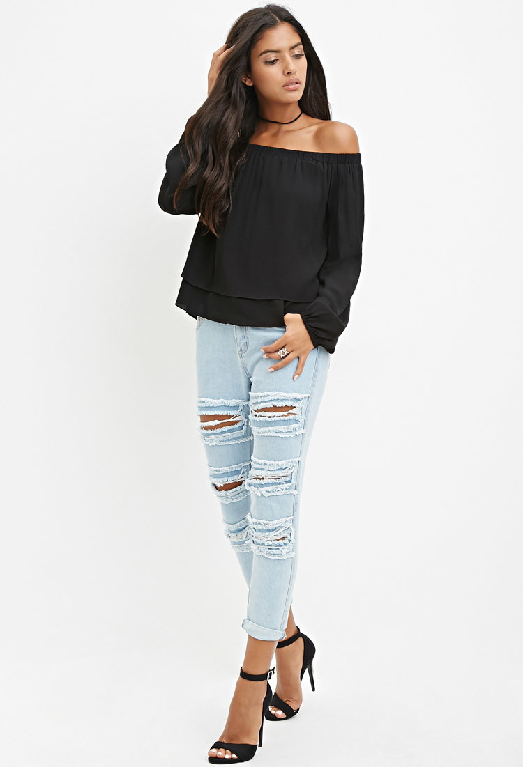 93776015e5b Forever 21 Off-the-shoulder Layered Top in Black - Lyst