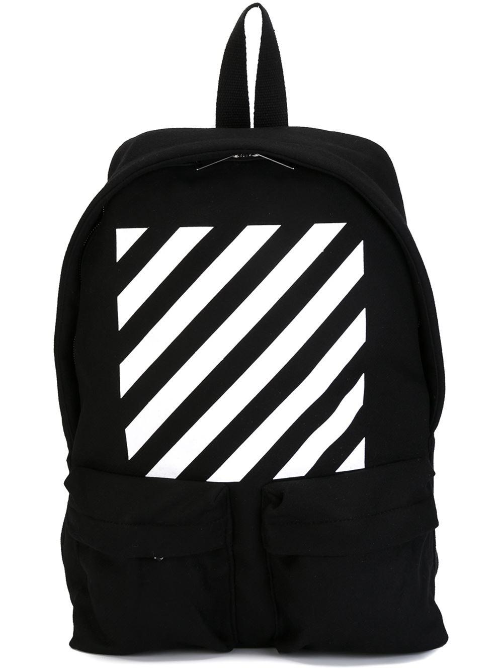 off white c o virgil abloh striped backpack in black lyst. Black Bedroom Furniture Sets. Home Design Ideas