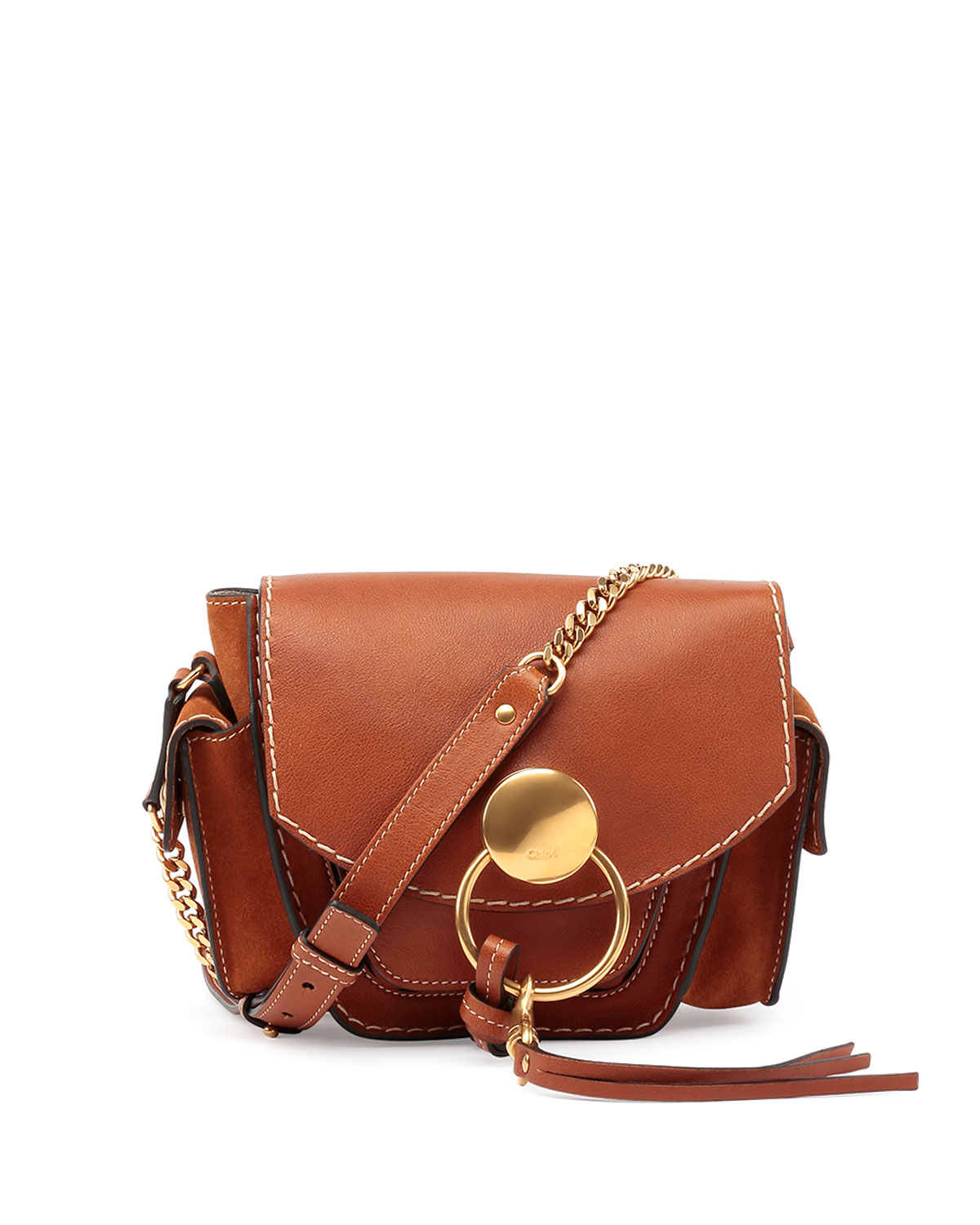 chloe jodie small leather and suede shoulder bag