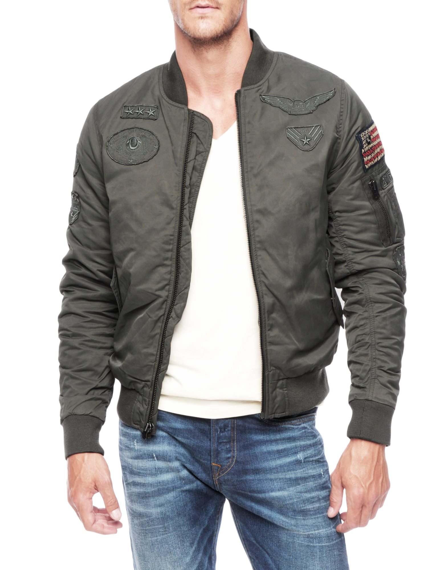 true religion bomber mens jacket with patches in gray for men lyst. Black Bedroom Furniture Sets. Home Design Ideas