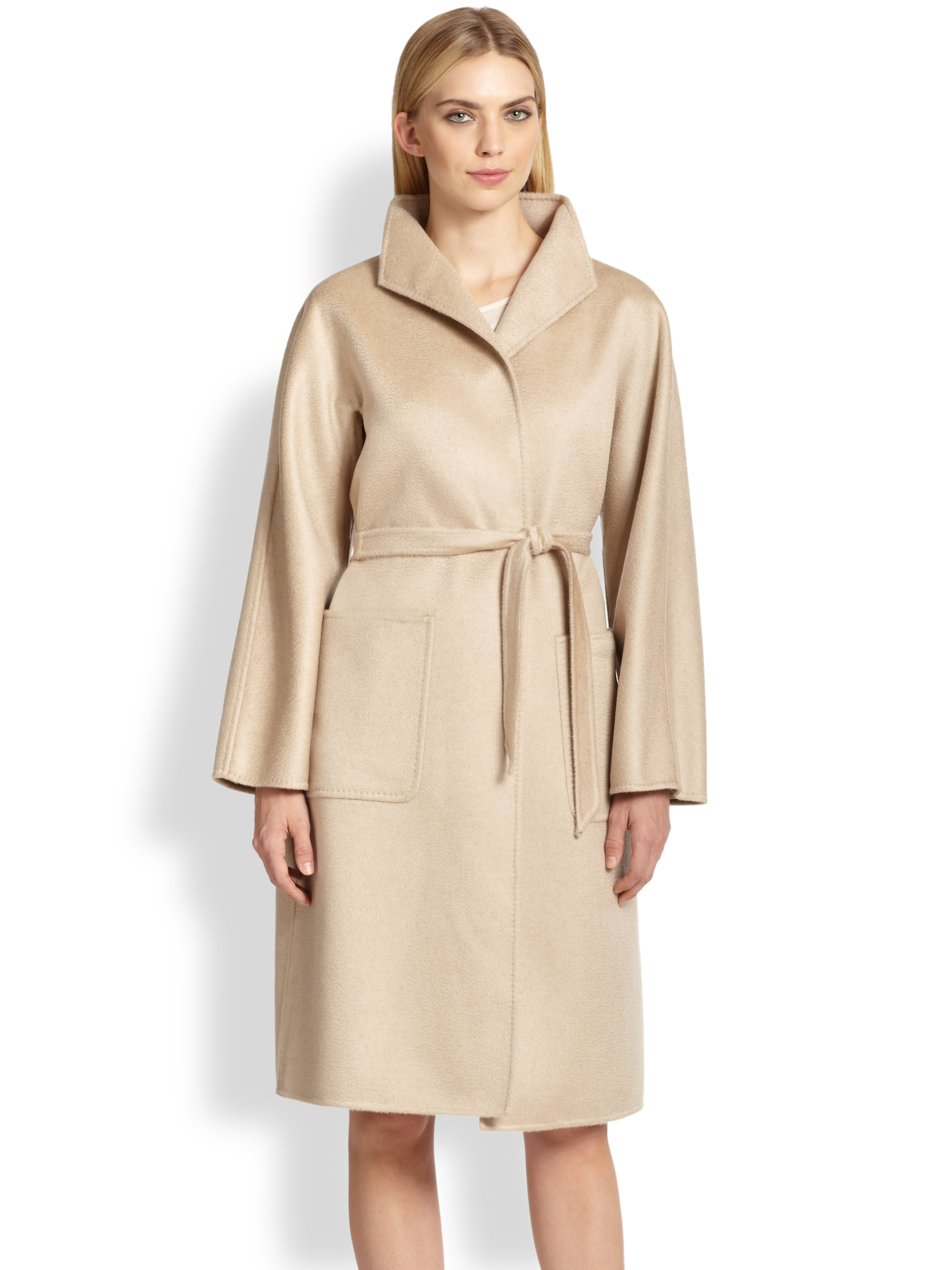 Lyst Max Mara Lilia Funnel Neck Wrap Coat In Natural