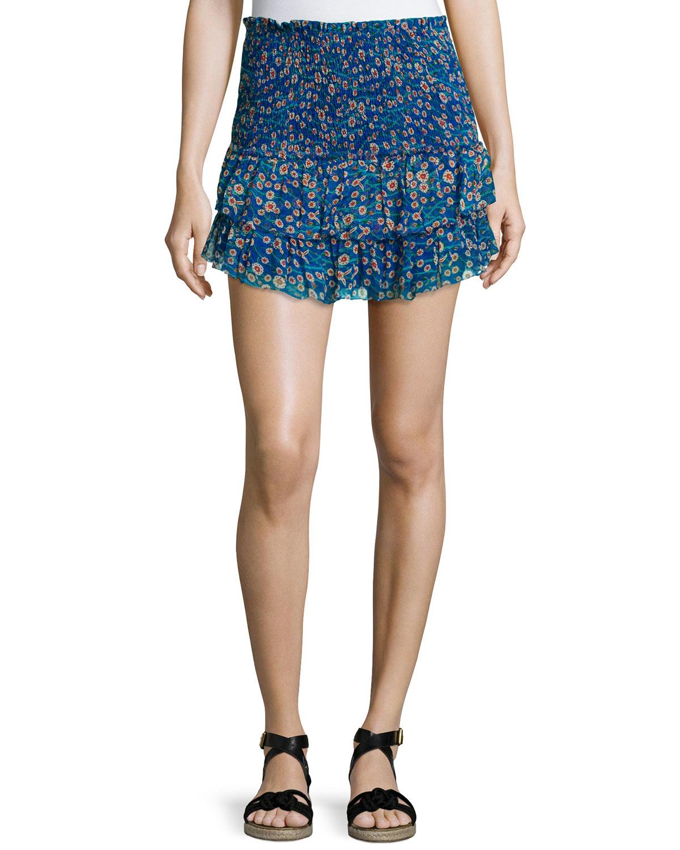 201 toile marant serek ruffled silk mini skirt in blue