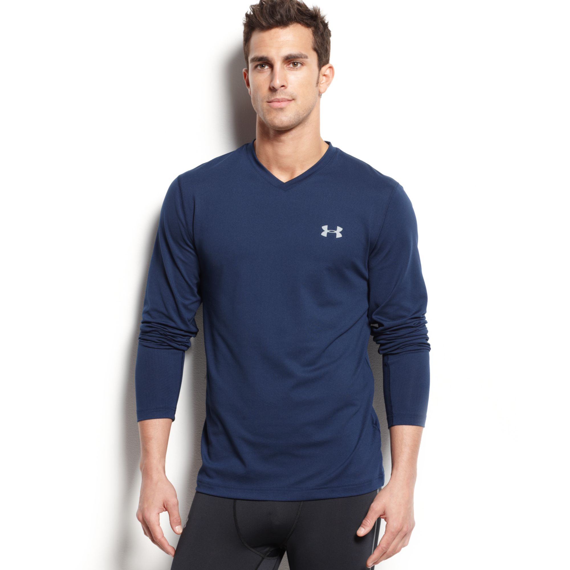 Under armour cold gear infrared v neck long sleeve t shirt for Under armour cold gear shirt mens