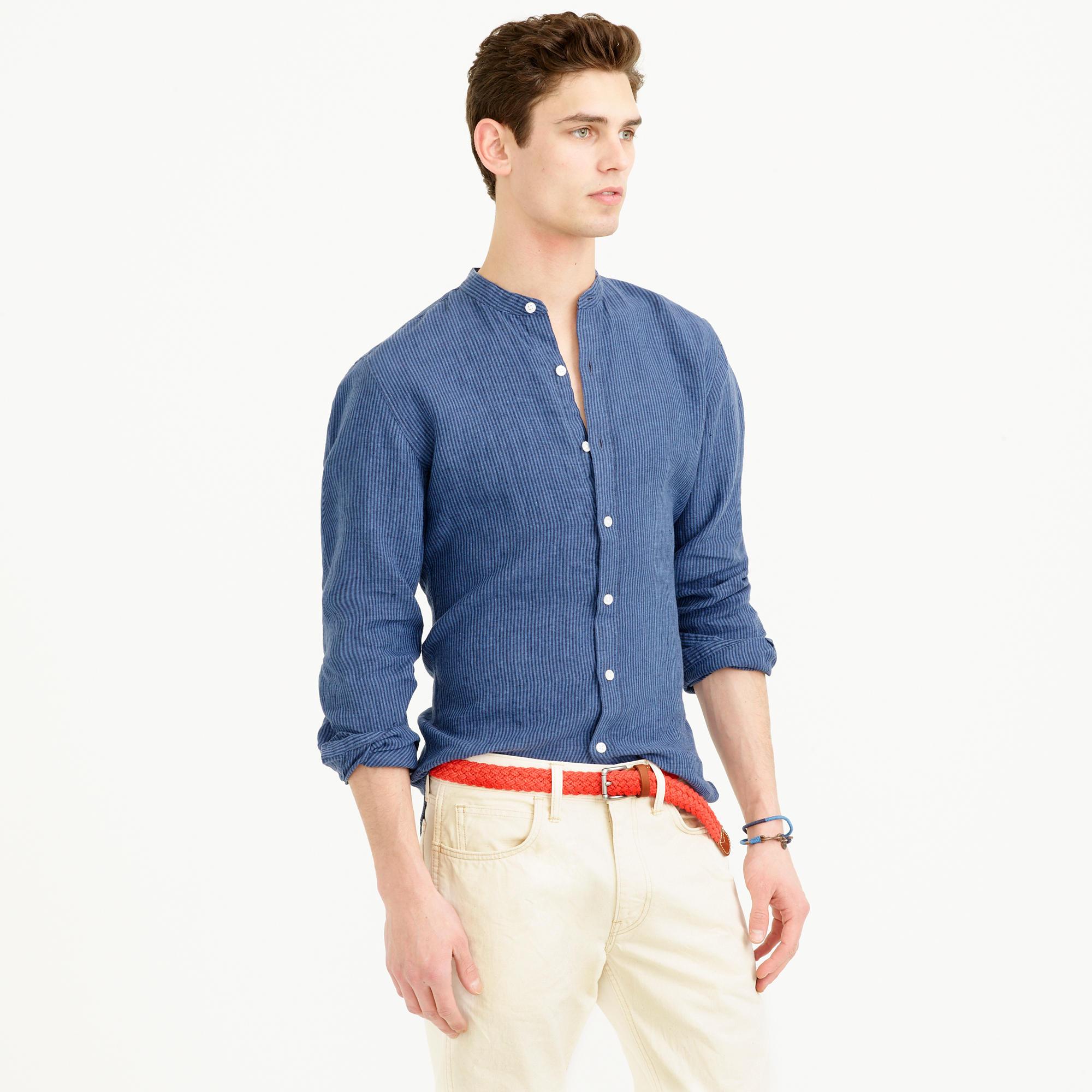 Linen Band Collar Shirt In Coastline Navy Stripe In