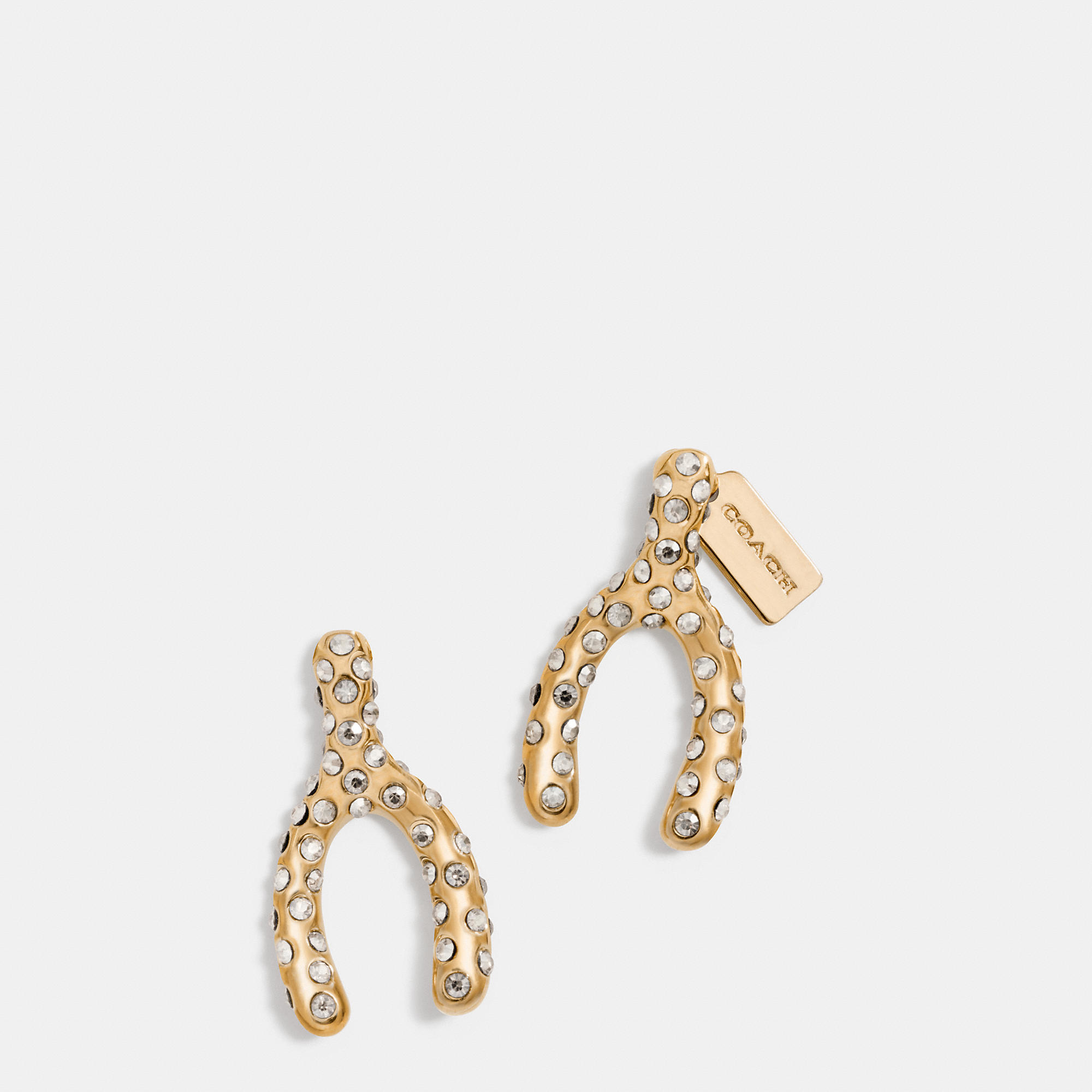 coach stud earrings coach pave wishbone stud earrings in metallic lyst 9216