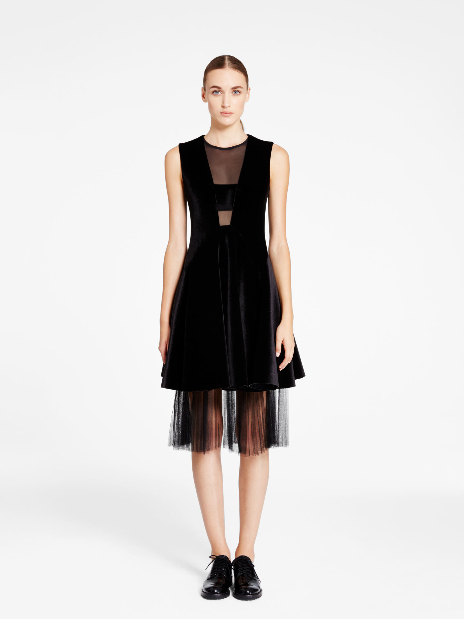 Dkny Dress With Georgette Insert in Black - Lyst