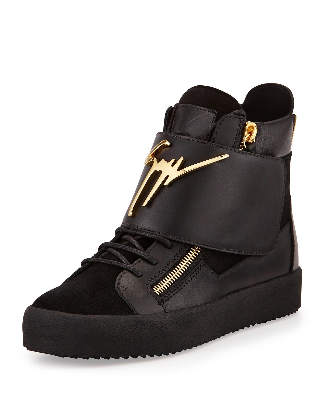 giuseppe zanotti logo strap leather high top sneaker in black for men lyst. Black Bedroom Furniture Sets. Home Design Ideas