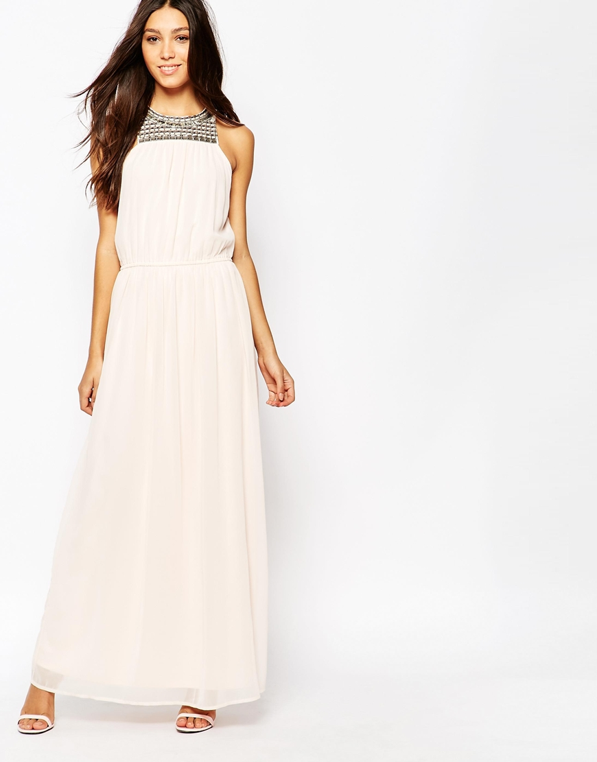 f36f66959223 Lyst - Vila Maxi Dress With High Neck Bead Detail in Pink