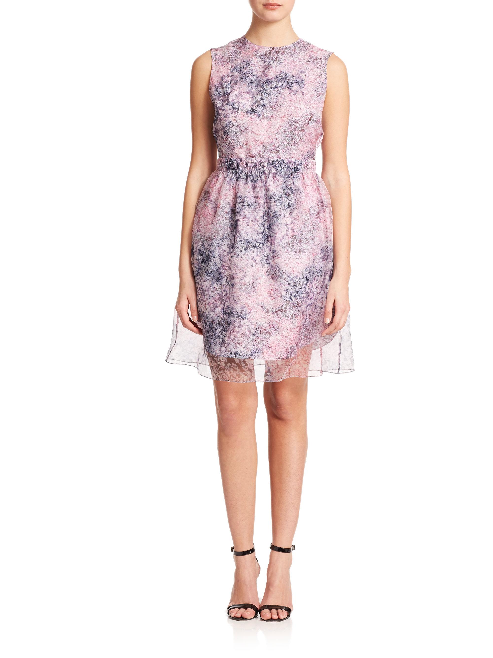 Lyst - Carven Petals-Print Organza Dress
