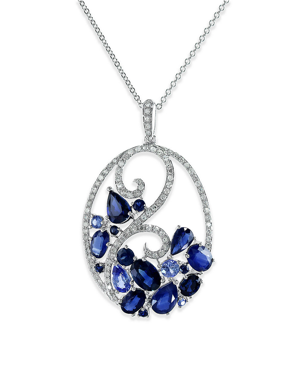 Effy Royale Bleu Ceylon Sapphire, Diamond And 14k White. Ankle Charm. Two Heart Engagement Rings. Little Diamond. Beauty And The Beast Necklace. Large Round Stud Earrings. White Gold Bands. Trim Rings. Artistic Earrings