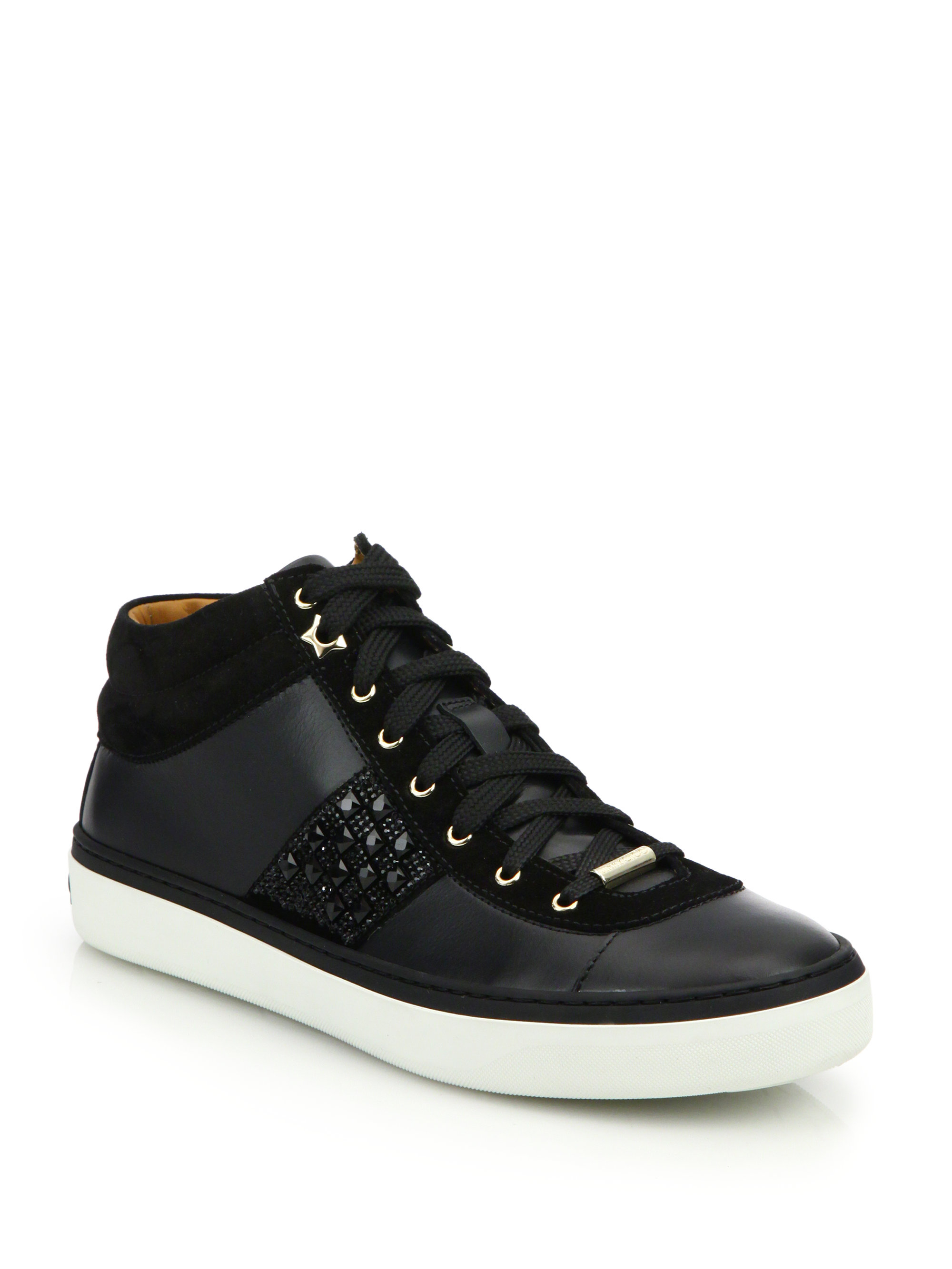 jimmy choo bells gem studded leather sneakers in black lyst. Black Bedroom Furniture Sets. Home Design Ideas