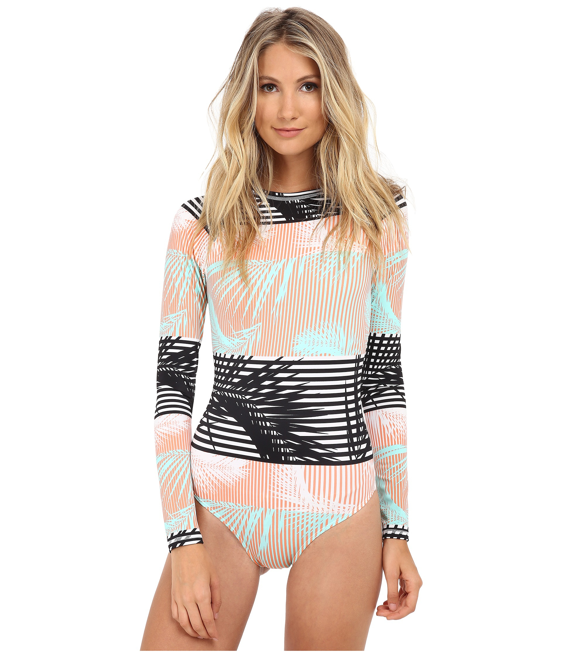 d3a21f9c44 Lyst - Roxy Pop Surf Long Sleeve One-piece in Pink