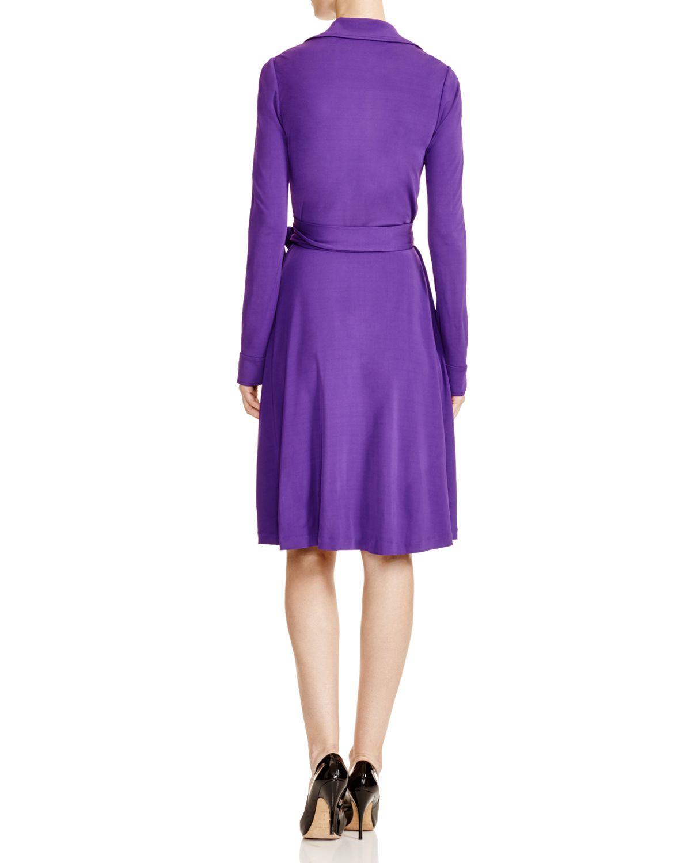 Lyst Diane Von Furstenberg Long Sleeve Wrap Dress In Purple