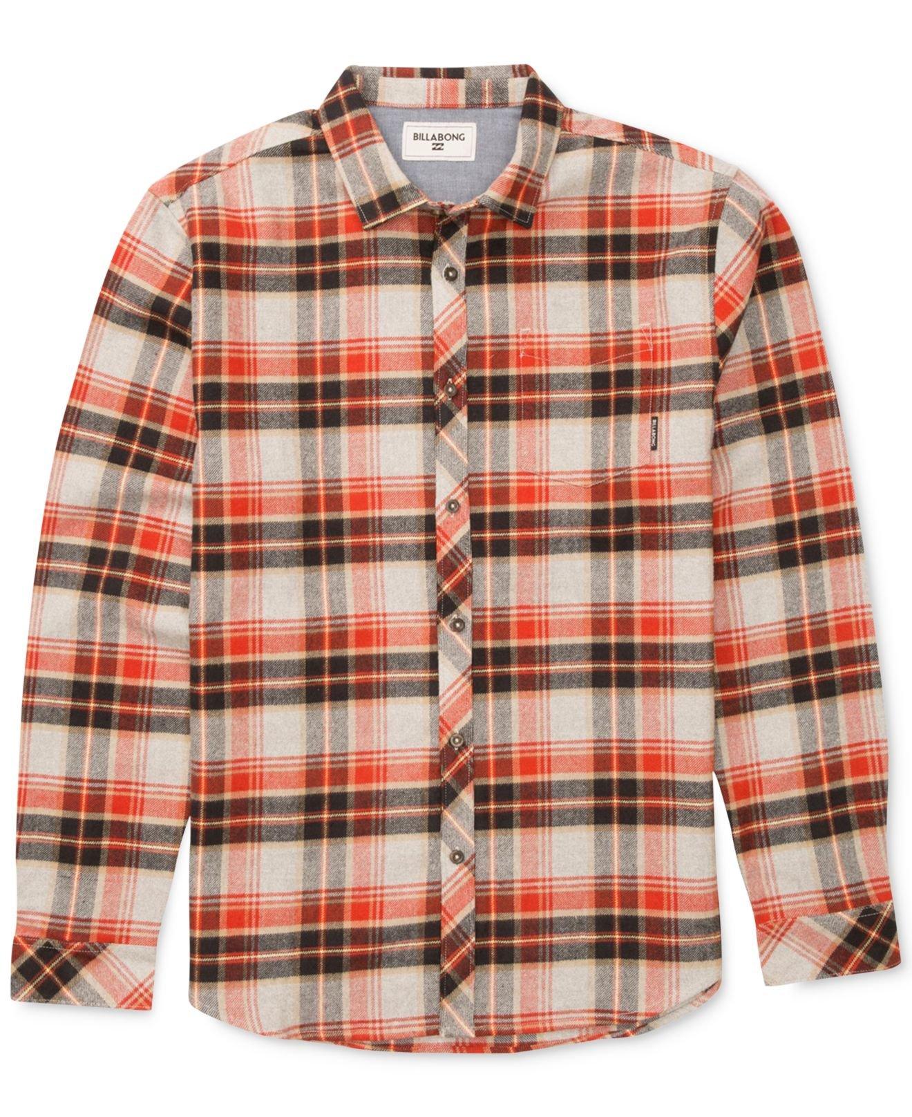 Billabong henderson long sleeve plaid flannel shirt for for Long plaid flannel shirt