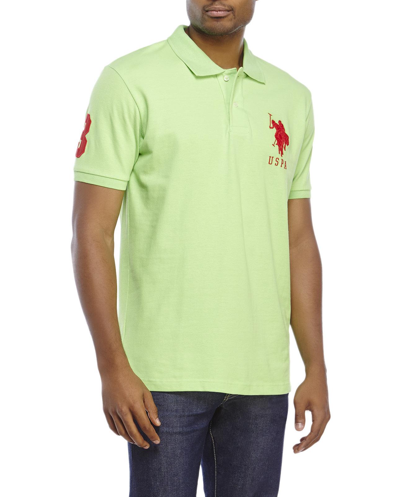 Lyst Us Polo Assn Big Logo Polo Shirt In Green For Men