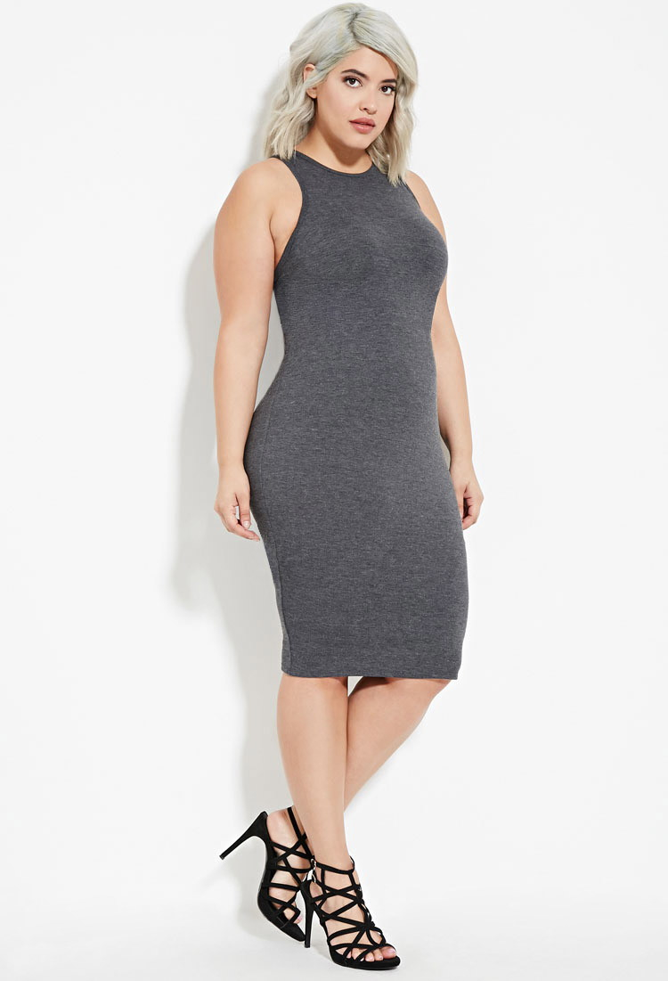 Forever 21 Plus Size Bodycon Tank Dress in Gray - Lyst