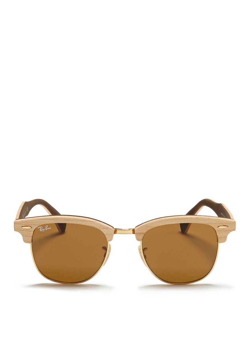 ray ban gold clubmaster  Ray-ban \u0027clubmaster Wood\u0027 Browline Sunglasses in Metallic