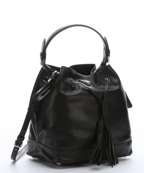 e467966a48 ... ireland lyst prada black leather drawstring large bucket bag in black  f1df5 529b8