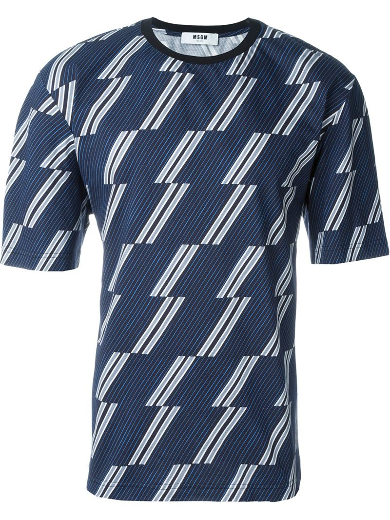 Msgm all over print t shirt in blue for men lyst for All over printing t shirts