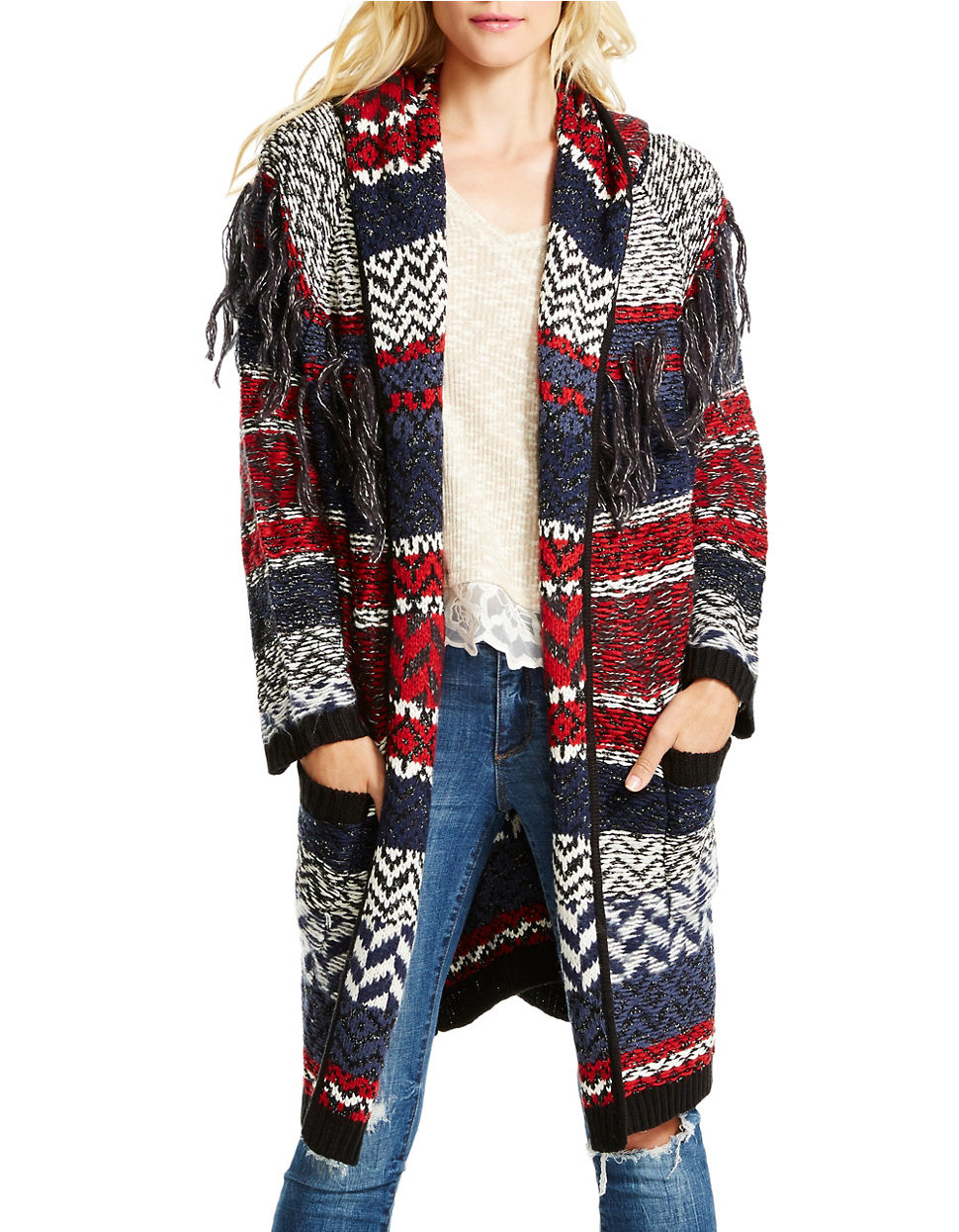 Jessica simpson Thistle Cozy Hooded Sweater Coat in Purple | Lyst