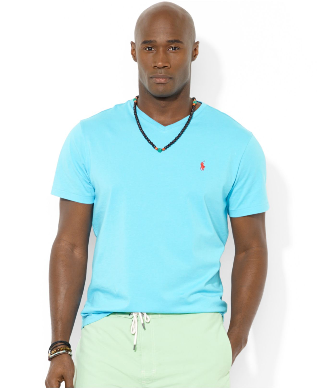 Lyst polo ralph lauren big and tall classic fit v neck for Ralph lauren polo jersey shirt