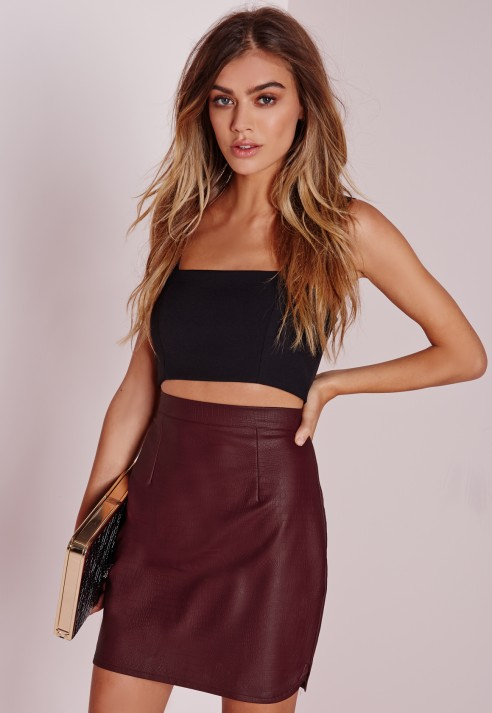 Missguided Snake Faux Leather Mini Skirt Burgundy | Lyst