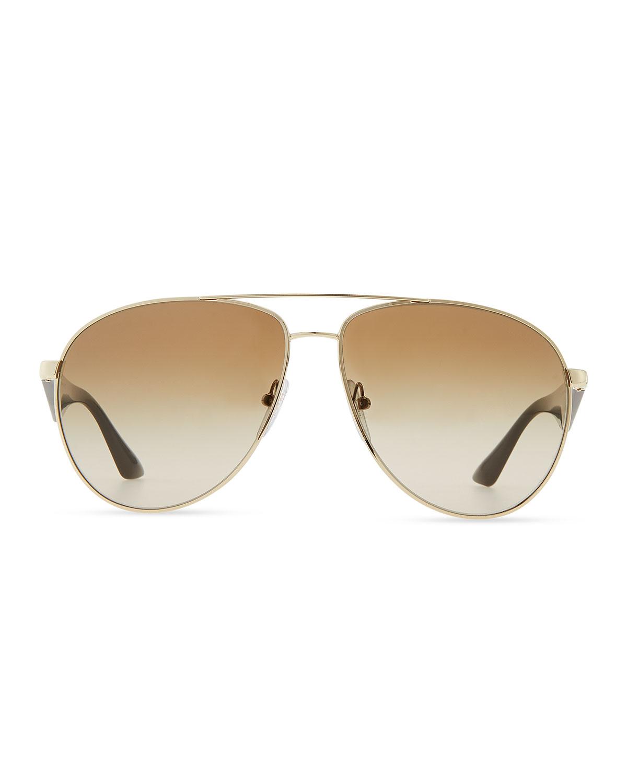 51410685a55f4 Prada Double Bar Aviator Sunglasses in Metallic - Lyst