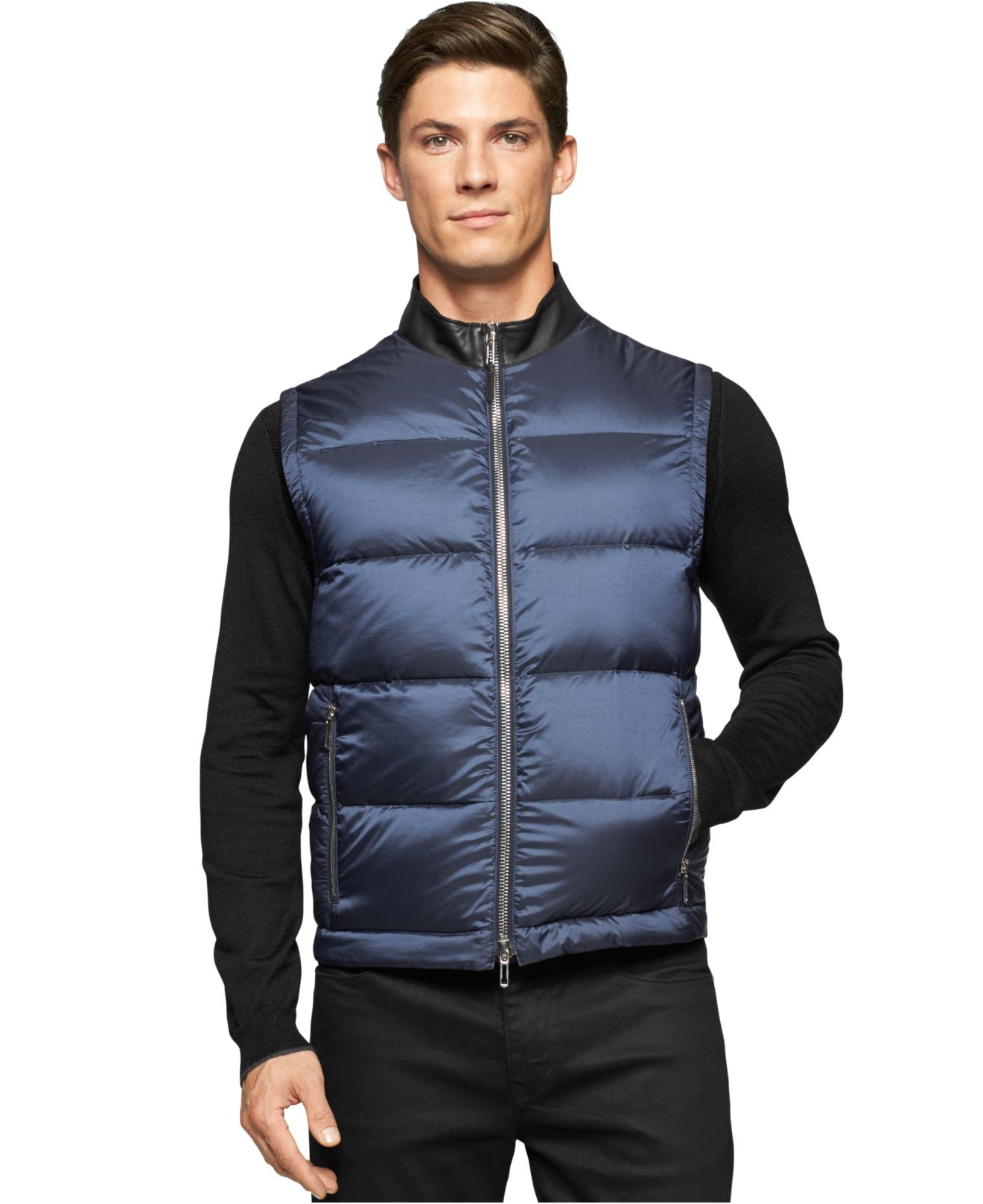 Calvin Klein Zip front Puffer Vest In Blue For Men Lyst