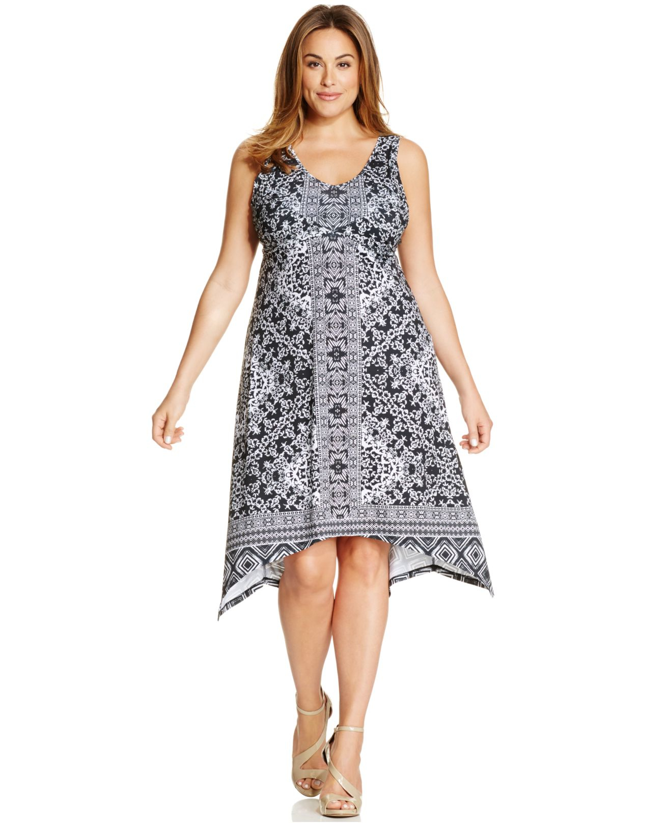 Style Co Plus Size Printed Handkerchief Hem Dress In