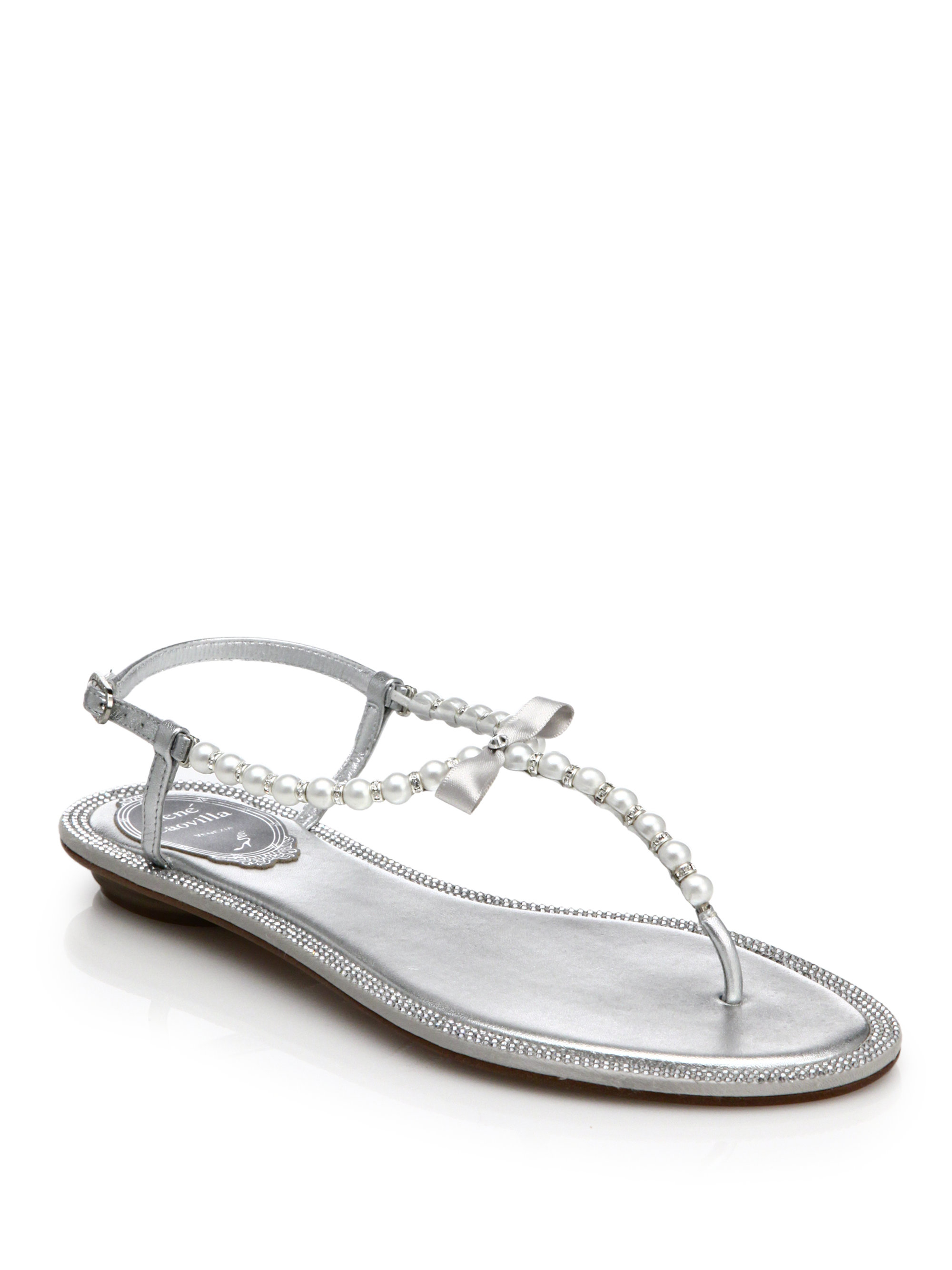 2c3c37e4a Lyst - Rene Caovilla Pearl And Rhinestone Metallic Leather Sandals ...